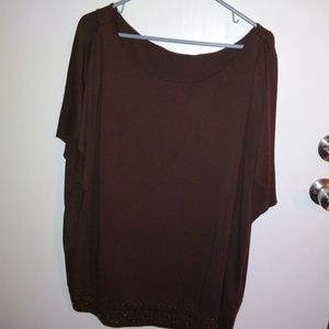 CATO WOMAN BROWN WITH GROMMETS AT THE HEM TOP SIZE